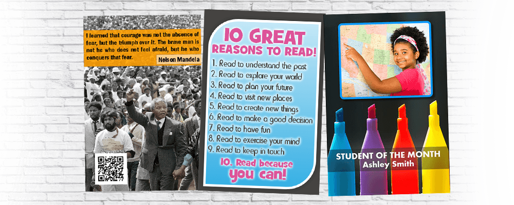 School Poster Printer Examples. Student of the month. 10 tips for reading.