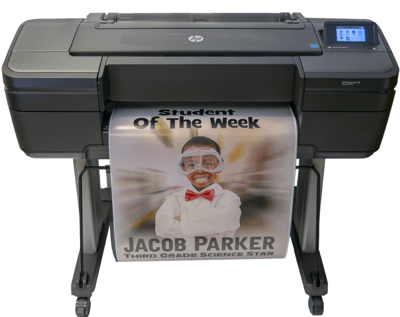 Poster Printers for schools. Student of the week. HP DesignJet for schools.
